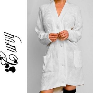 COMING SOON curvaceous white cardigan sweater